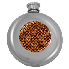 Scales1 Black Marble & Copper Foil (r) Round Hip Flask (5 Oz) by trendistuff