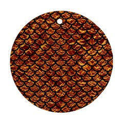 Scales1 Black Marble & Copper Foil (r) Round Ornament (two Sides) by trendistuff