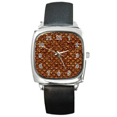 Scales2 Black Marble & Copper Foil (r) Square Metal Watch by trendistuff