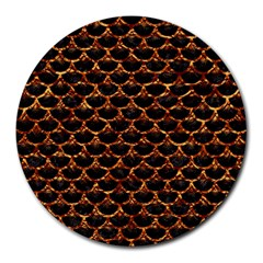Scales3 Black Marble & Copper Foil Round Mousepads