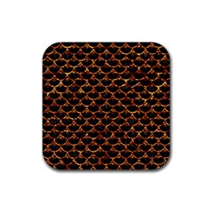Scales3 Black Marble & Copper Foil Rubber Square Coaster (4 Pack)  by trendistuff