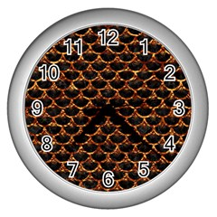 Scales3 Black Marble & Copper Foil Wall Clocks (silver)  by trendistuff