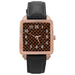 Scales3 Black Marble & Copper Foil Rose Gold Leather Watch  by trendistuff