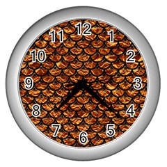 Scales3 Black Marble & Copper Foil (r) Wall Clocks (silver)