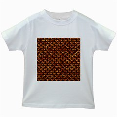 Scales3 Black Marble & Copper Foil (r) Kids White T Shirts by trendistuff