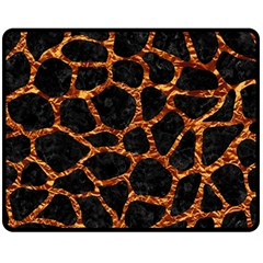 Skin1 Black Marble & Copper Foil (r) Fleece Blanket (medium)  by trendistuff