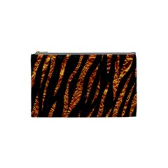 Skin3 Black Marble & Copper Foil Cosmetic Bag (small)  by trendistuff