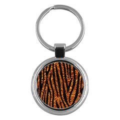 Skin4 Black Marble & Copper Foil Key Chains (round)  by trendistuff