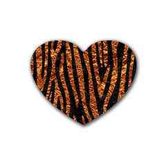 Skin4 Black Marble & Copper Foil (r) Heart Coaster (4 Pack)  by trendistuff