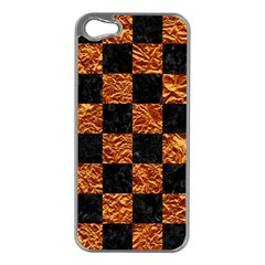 Square1 Black Marble & Copper Foil Apple Iphone 5 Case (silver) by trendistuff