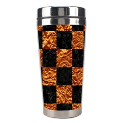 Square1 Black Marble & Copper Foil Stainless Steel Travel Tumblers by trendistuff