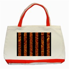 Stripes1 Black Marble & Copper Foil Classic Tote Bag (red) by trendistuff
