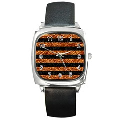 Stripes2 Black Marble & Copper Foil Square Metal Watch by trendistuff