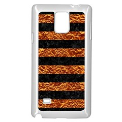 Stripes2 Black Marble & Copper Foil Samsung Galaxy Note 4 Case (white) by trendistuff