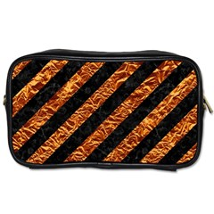 Stripes3 Black Marble & Copper Foil Toiletries Bags 2 Side by trendistuff