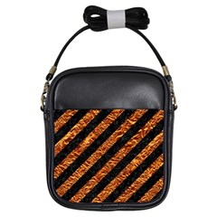 Stripes3 Black Marble & Copper Foil Girls Sling Bags by trendistuff