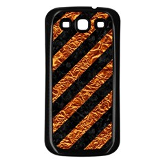 Stripes3 Black Marble & Copper Foil Samsung Galaxy S3 Back Case (black) by trendistuff