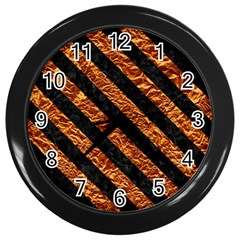 Stripes3 Black Marble & Copper Foil (r) Wall Clocks (black) by trendistuff