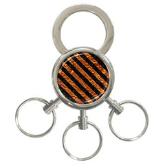 Stripes3 Black Marble & Copper Foil (r) 3 Ring Key Chains by trendistuff
