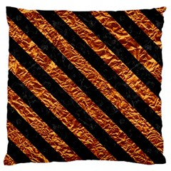 Stripes3 Black Marble & Copper Foil (r) Large Cushion Case (two Sides) by trendistuff