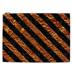 Stripes3 Black Marble & Copper Foil (r) Cosmetic Bag (xxl)  by trendistuff