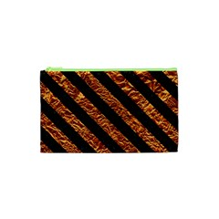Stripes3 Black Marble & Copper Foil (r) Cosmetic Bag (xs) by trendistuff
