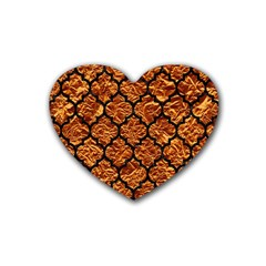 Tile1 Black Marble & Copper Foil (r) Rubber Coaster (heart)  by trendistuff