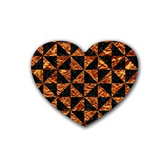 Triangle1 Black Marble & Copper Foil Rubber Coaster (heart)  by trendistuff