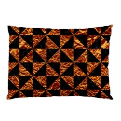Triangle1 Black Marble & Copper Foil Pillow Case by trendistuff