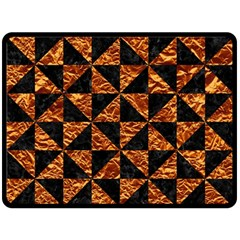 Triangle1 Black Marble & Copper Foil Fleece Blanket (large)  by trendistuff