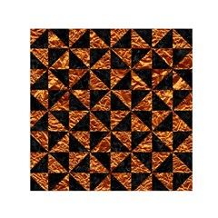 Triangle1 Black Marble & Copper Foil Small Satin Scarf (square) by trendistuff