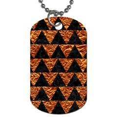 Triangle2 Black Marble & Copper Foil Dog Tag (two Sides) by trendistuff