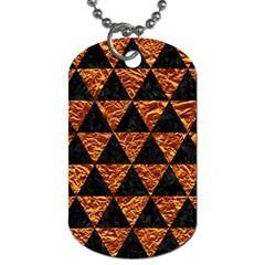 Triangle3 Black Marble & Copper Foil Dog Tag (two Sides) by trendistuff