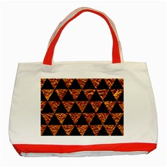Triangle3 Black Marble & Copper Foil Classic Tote Bag (red) by trendistuff