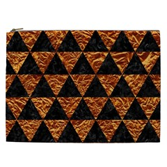 Triangle3 Black Marble & Copper Foil Cosmetic Bag (xxl)  by trendistuff