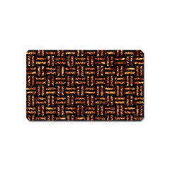 Woven1 Black Marble & Copper Foil Magnet (name Card) by trendistuff