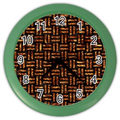 Woven1 Black Marble & Copper Foil Color Wall Clocks by trendistuff