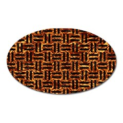 Woven1 Black Marble & Copper Foil (r) Oval Magnet by trendistuff