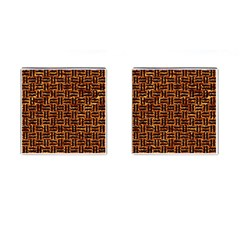 Woven1 Black Marble & Copper Foil (r) Cufflinks (square) by trendistuff