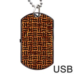 Woven1 Black Marble & Copper Foil (r) Dog Tag Usb Flash (two Sides) by trendistuff