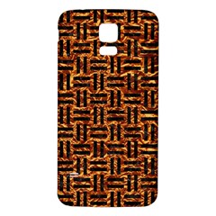 Woven1 Black Marble & Copper Foil (r) Samsung Galaxy S5 Back Case (white) by trendistuff
