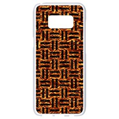 Woven1 Black Marble & Copper Foil (r) Samsung Galaxy S8 White Seamless Case by trendistuff