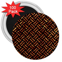 Woven2 Black Marble & Copper Foil 3  Magnets (100 Pack) by trendistuff