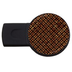 Woven2 Black Marble & Copper Foil Usb Flash Drive Round (2 Gb) by trendistuff