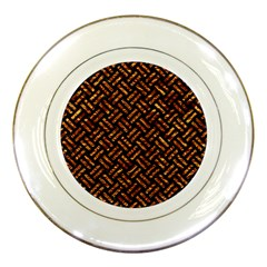 Woven2 Black Marble & Copper Foil Porcelain Plates by trendistuff