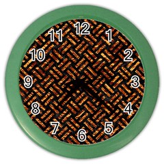 Woven2 Black Marble & Copper Foil Color Wall Clocks by trendistuff