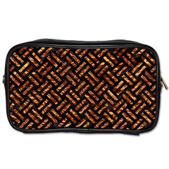 Woven2 Black Marble & Copper Foil Toiletries Bags 2 Side by trendistuff
