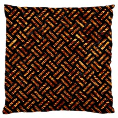 Woven2 Black Marble & Copper Foil Large Cushion Case (two Sides) by trendistuff