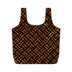 Woven2 Black Marble & Copper Foil Full Print Recycle Bags (m)  by trendistuff