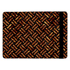 Woven2 Black Marble & Copper Foil Samsung Galaxy Tab Pro 12 2  Flip Case by trendistuff